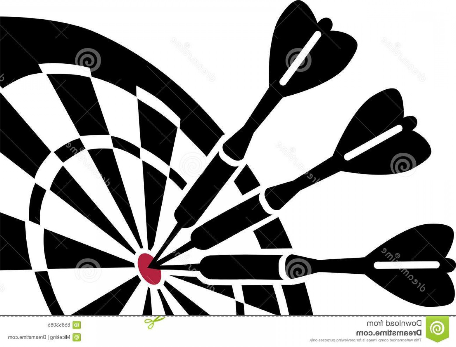 Stock Illustration Dartboard Darts Three Center Image.