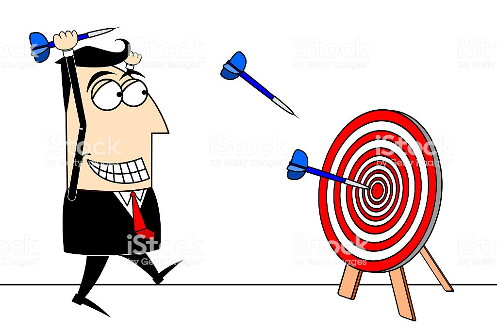 Businessman Darts Clipart Stock Photo.