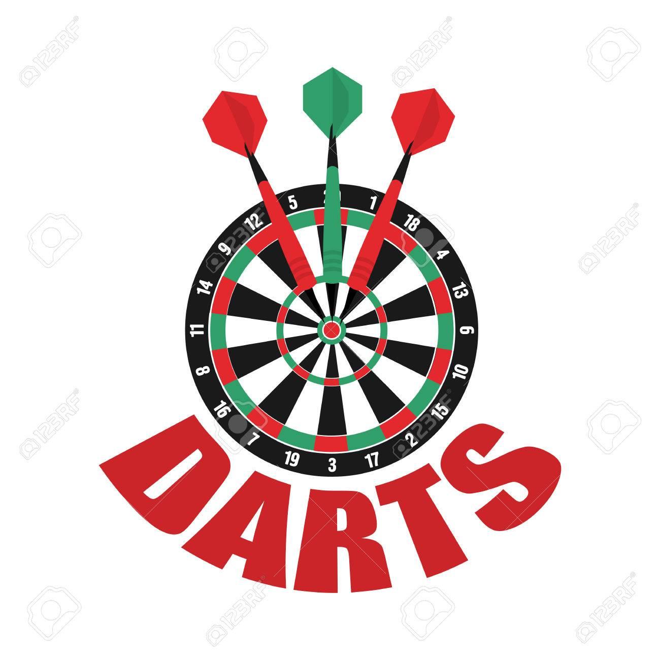 Darts label. Badge. Darts sporting symbols. Darts, dartboard,...
