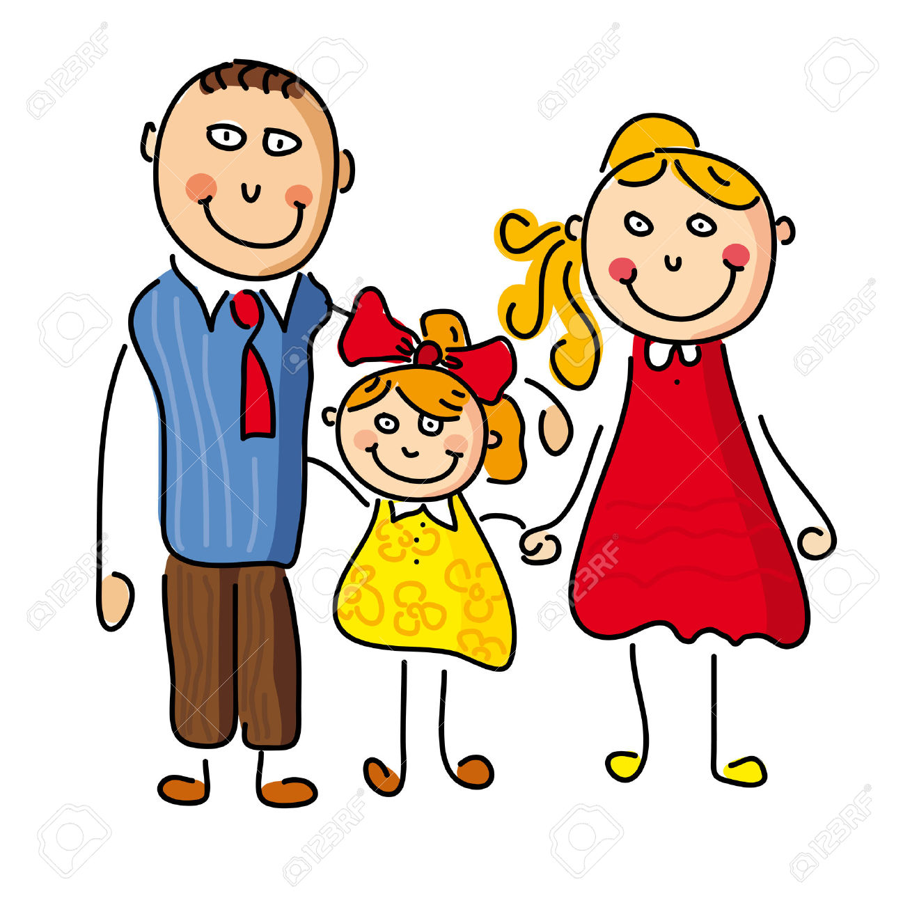 daughter and father in the morning cartoon clipart
