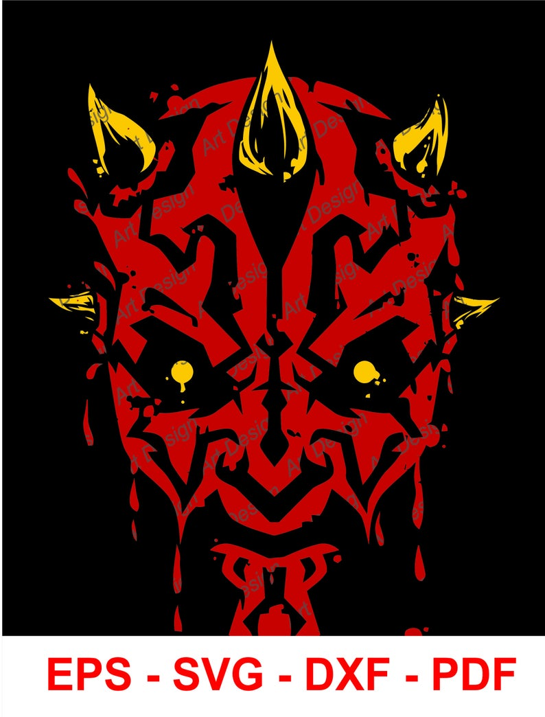 Darth Maul Star Wars Disney Vector Clip Art. svg. dxf. eps. pdf.