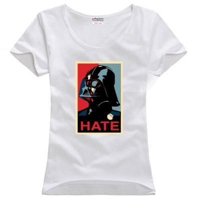 Women's Tee Hate Darth Vader Helmet Clip Art Mask Wholesale Discount Anakin  Skywalker Couple Clothes Woman Cotton T Shirt.