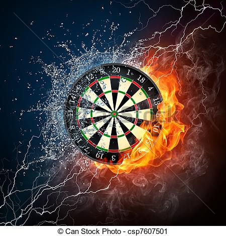 Clipart of Darts Board in Fire and Water Isolated on Black.