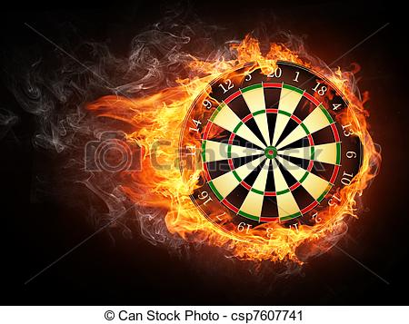 Clipart of Darts Board in Fire Isolated on Black Background.