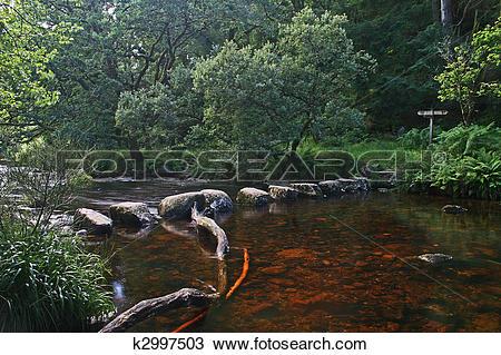 Stock Photo of Stepping stones near Badgers Holt Dartmoor k2997503.