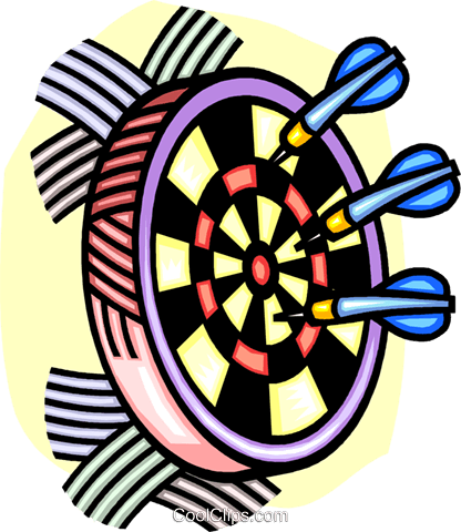 Dartboard and darts Royalty Free Vector Clip Art illustration.