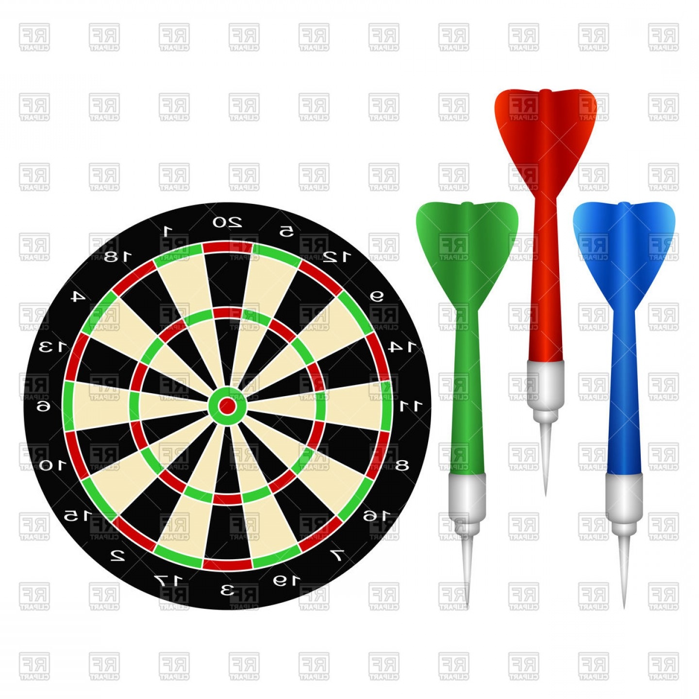Accessories For The Game Of Darts Vector Clipart.