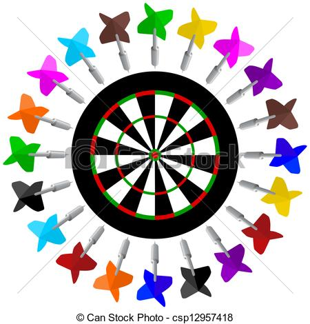 Vector Clip Art of Darts and dartboard. Illustration on white.