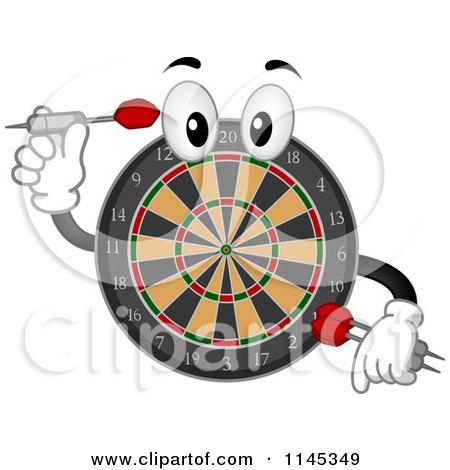 Cartoon of a Dart Board Mascot Holding a Dart.