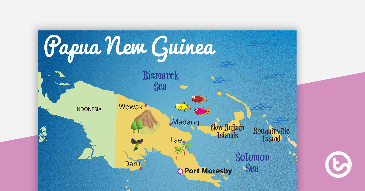 Map of Papua New Guinea.