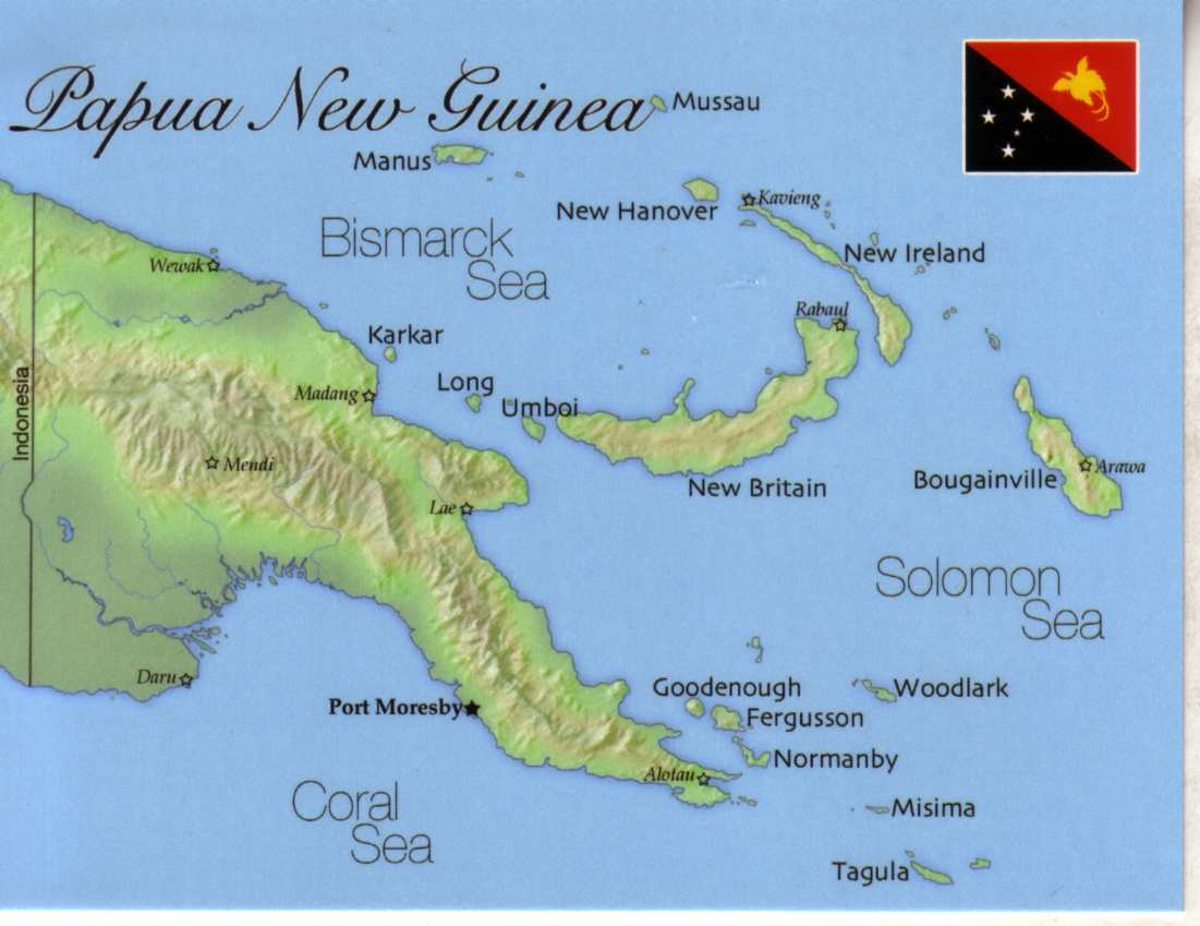 Map of paupa new guinea and travel information.