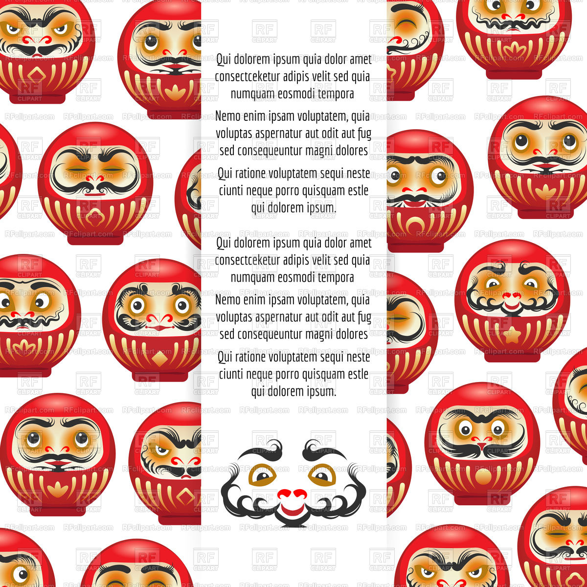Colorful japanese daruma dolls poster Stock Vector Image.