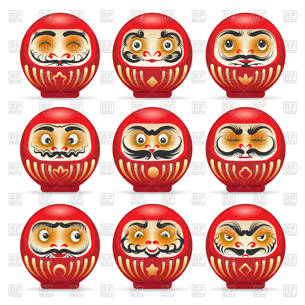 Red daruma dolls from japan isolated on white Stock Vector Image.