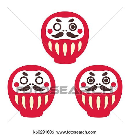 Daruma doll set Clipart.
