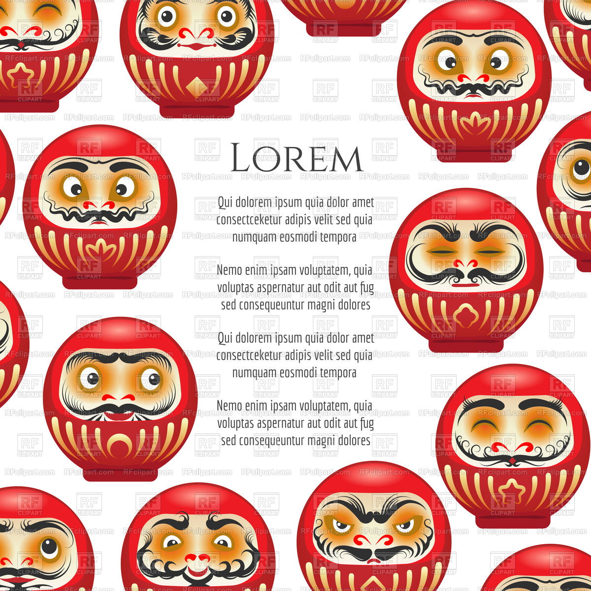Japanese red daruma dolls poster design Stock Vector Image.