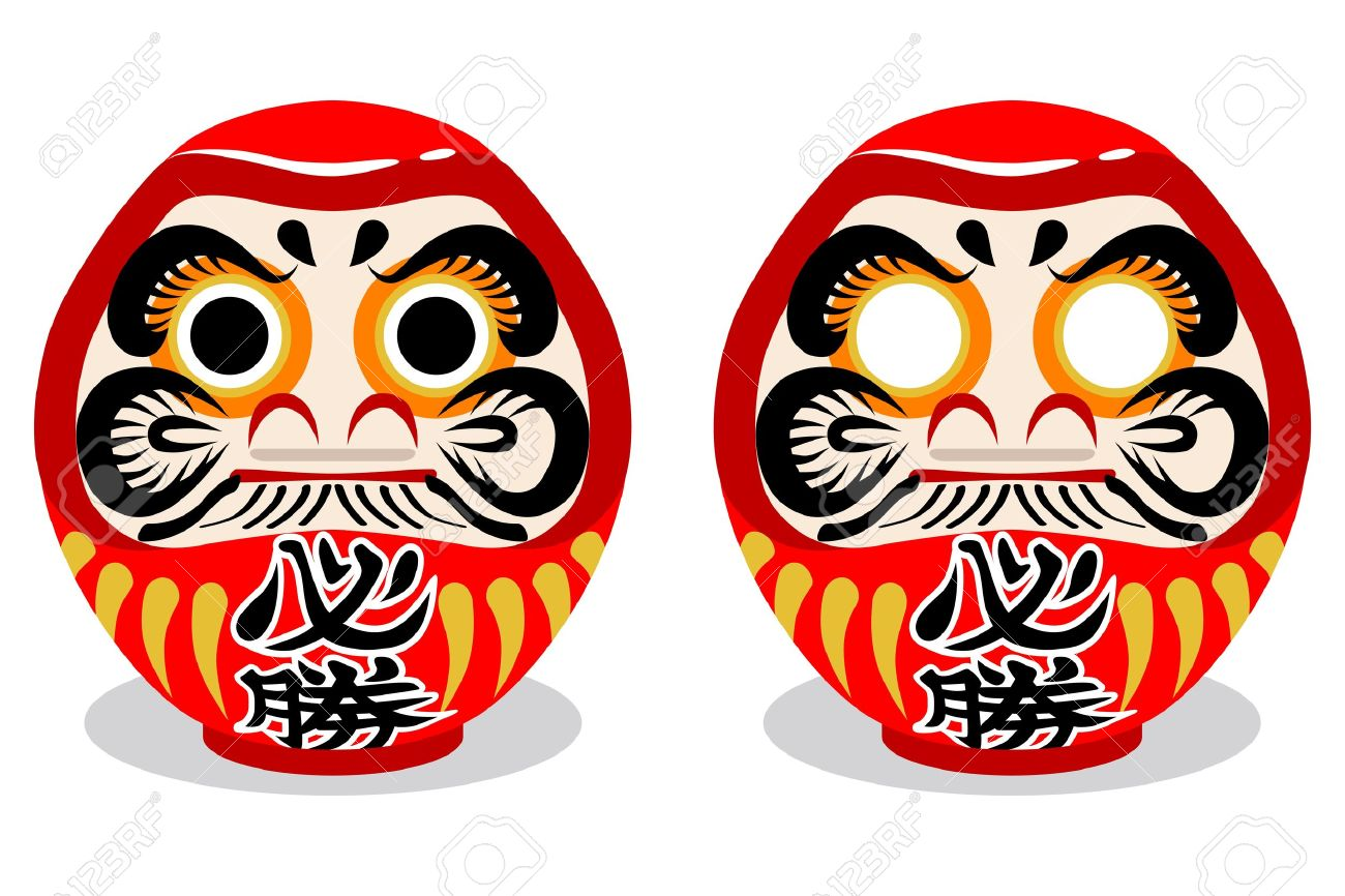Two Japanese Daruma dolls.