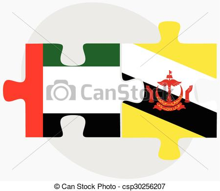 Vector Clipart of United Arab Emirates and Brunei Darussalam Flags.
