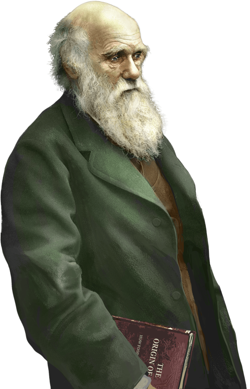 Charles Darwin Holding the Origin Of Species transparent PNG.