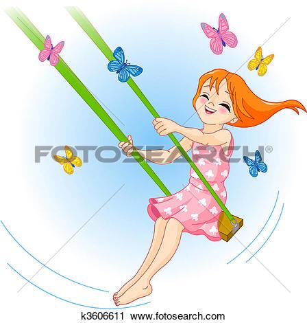 Stock Illustration of Little Girl on a swing u12516537.