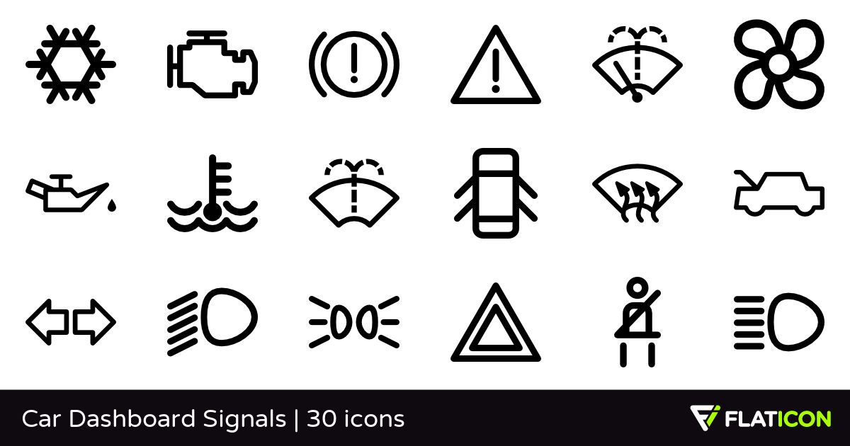 Car Dashboard Signals 30 free icons (SVG, EPS, PSD, PNG files).