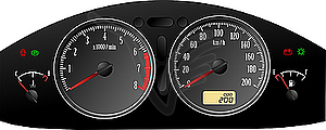Accelerating Dashboard. Includes speedometer, tacho.