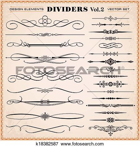 Clip Art of Design elements, dividers, dashes k18382587.