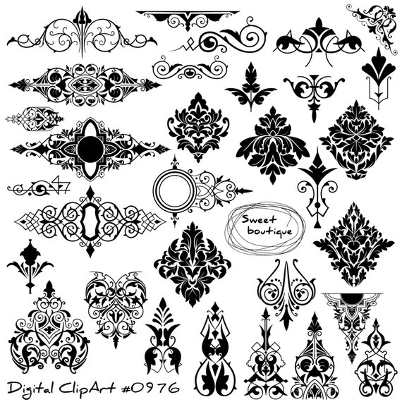 Digital Damask Clipart, Digital borders, Damask Element Clip.