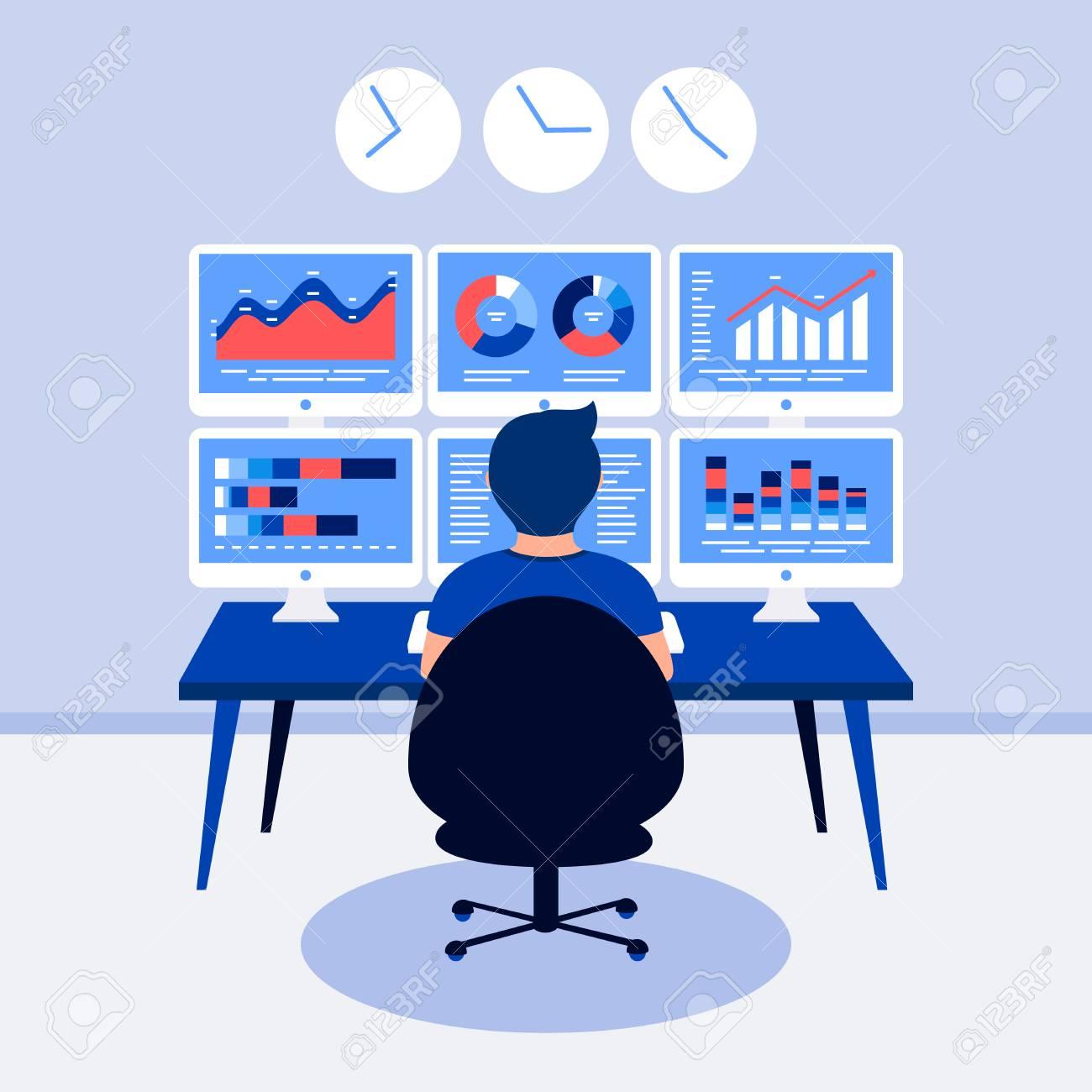 Data analysis design concept. Analyst, trader working.