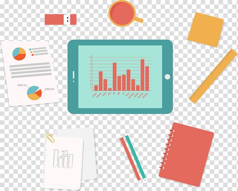 Icon, Tablet data analysis interface design transparent background.