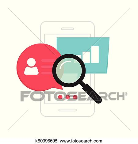 Mobile phone data analytics concept, smartphone social statistics analysis  Clipart.
