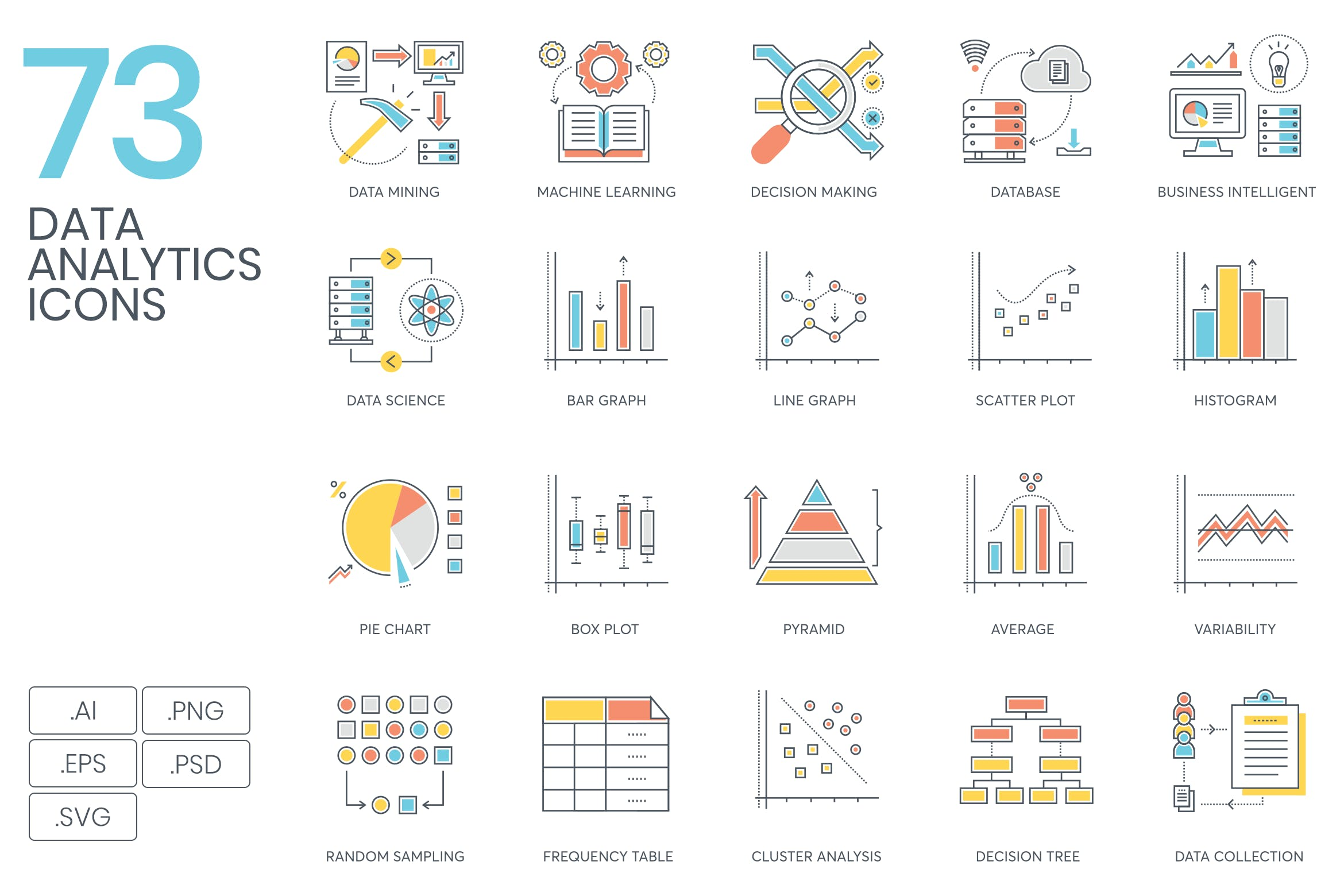 73 Data Analytics Icons by Krafted on Envato Elements.