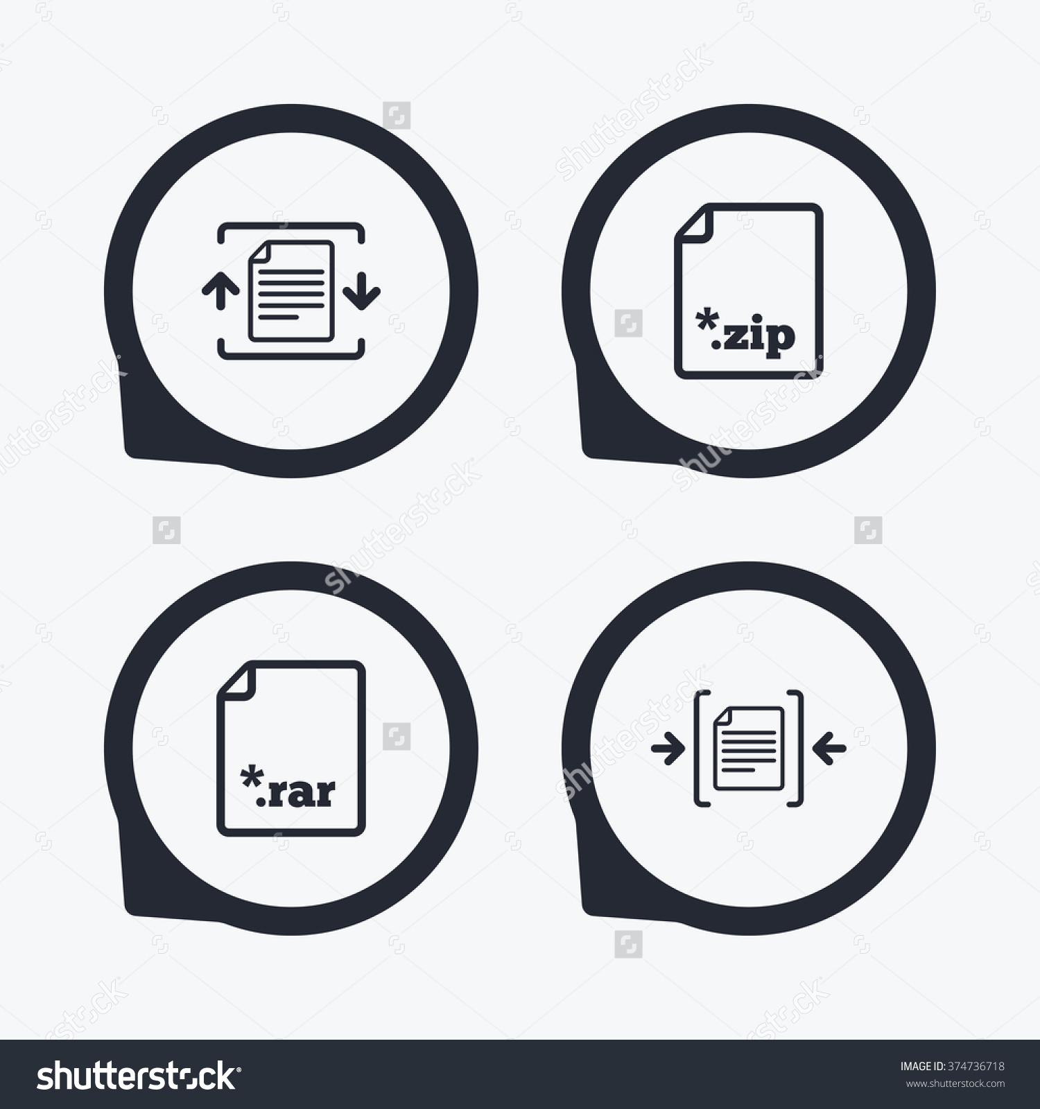 Archive File Icons Compressed Zipped Document Stock Vector.