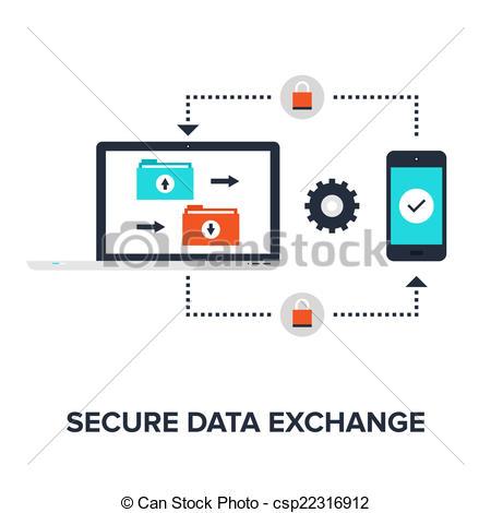 Vector Clip Art of Secure data exchange.