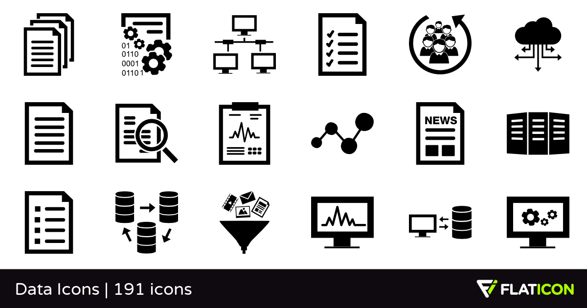 Data Icons +190 free icons (SVG, EPS, PSD, PNG files).