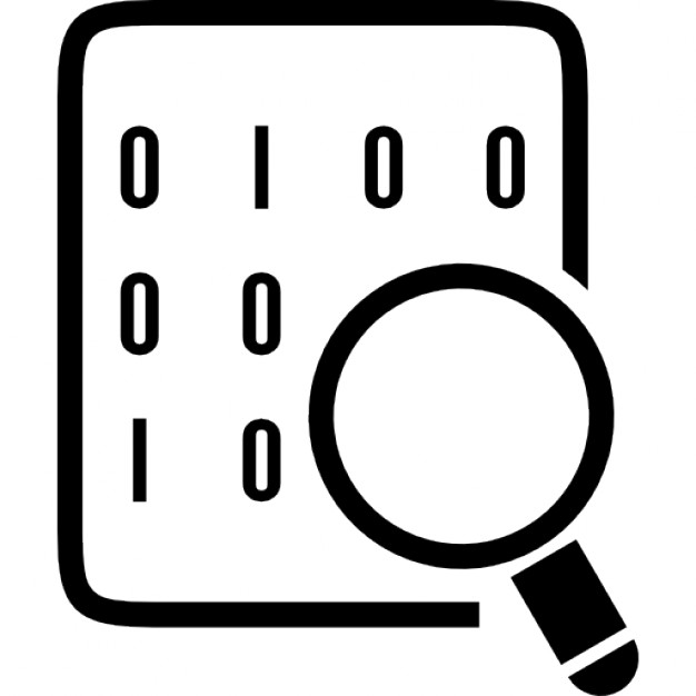 Binary codes on data sheet with magnifying lens Icons.