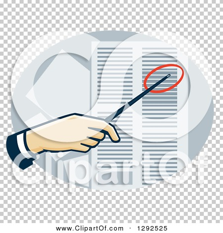 Clipart of a White Hand Using a Pointer to Direct Attention to a.