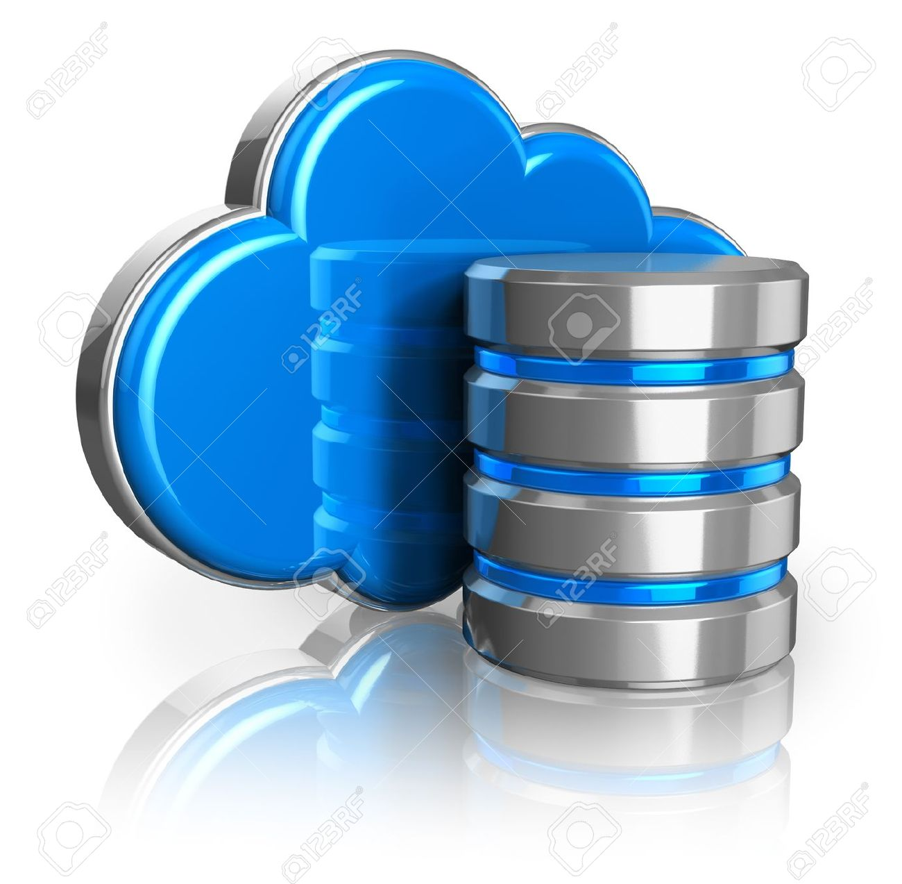 Cloud Computing And Remote Data Storage Concept Blue Glossy.