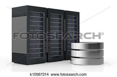 Drawings of concept of computer server and data storage k10567314.