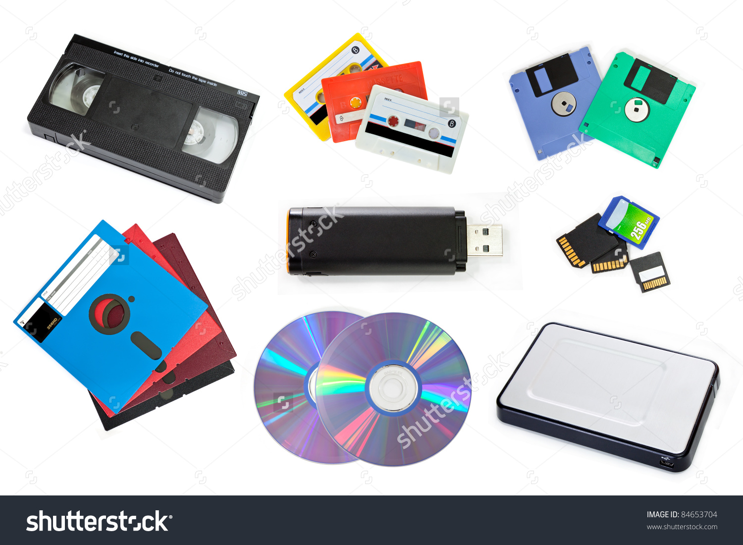 Variety Storage Device Isolated Stock Photo 84653704