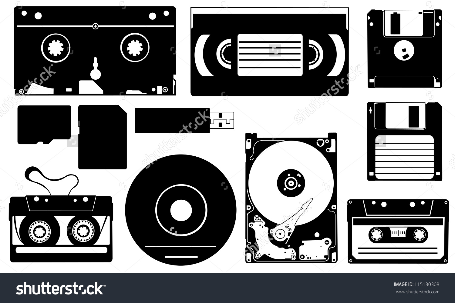 Set Different Data Storage Devices Stock Vector 115130308.