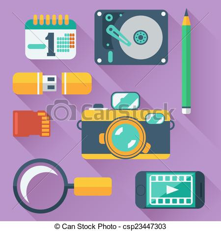 Vector Clipart of Data storage devices icons.