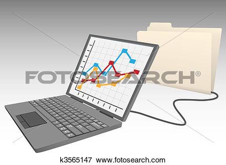 Clip Art of Laptop computer store data into database file folder.