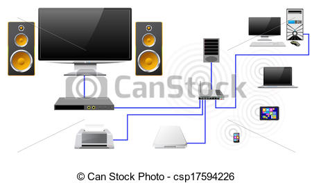 Vector Illustration of Home network with the server data store.