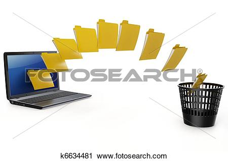 Clipart of 3d laptop data transfer to deleting recycle bin.