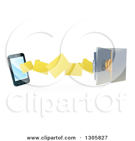 Clipart of a 3d Smart Cell Phone Doing a Secure Data Transfer.