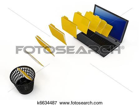 Stock Illustration of 3d laptop data transfer to deleting recycle.