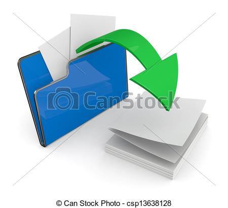 Clip Art of folder icon, data transfer.