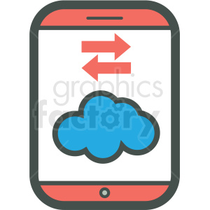 cloud data transfer smart device vector icon . Royalty.
