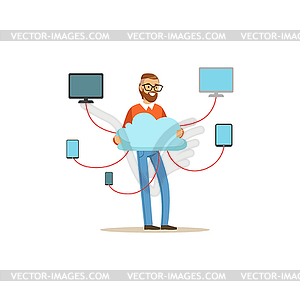 Network engineer administrator working in data.