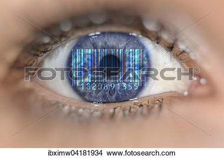 Stock Photo of Detail of eye with barcode EAN, European Article.